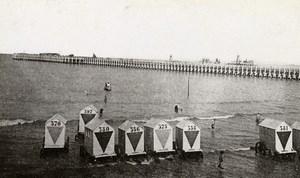 Belgium Oostende Pier Beach Huts Old CDV Print Daveluy 1900