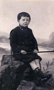 Belgium Menin Child holding Rake Portrait Old CDV Photo Pille 1890