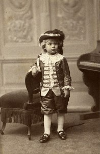 Belgium Brussels Costumed Child Portrait Fashion Old CDV Photo Levaque 1880