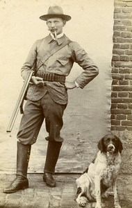 Belgium Brussels Hunter & his Dog Portrait Old CDV Photo Van Mill 1900