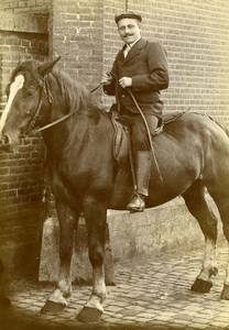 Belgium Brussels Man Horse Rider Portrait Old CDV Photo Van Mill 1890