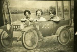 Belgique Denderleeuw Dames En voiture Portrait Humoristique Décor Studio Ancienne CDV Photo 1920