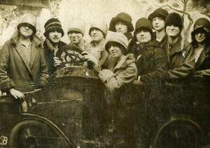 Belgium Humoristic Ladies in a car Studio Arcade Old CDV Photo Coster 1920