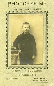 France Photo Prime Speciale pour Ecoles Portrait Ecolier Ancienne CDV Photo 1910