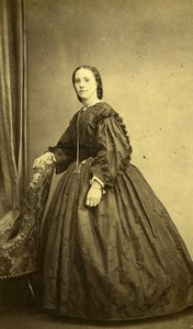 Belgium Brussels Woman Costume Second Empire Fashion Old CDV Photo Staquet 1860