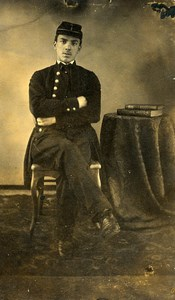 France Elegant Young Man in Uniform Second Empire Fashion Old CDV Photo 1860