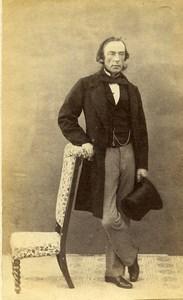 France Elegant Man Second Empire Fashion Top Hat Old CDV Photo 1860
