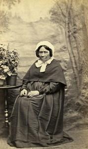 France Older Lady Woman Fashion Bonnet Old CDV Photo 1860