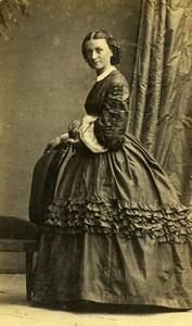 France Elegant Woman Second Empire Fashion Crinoline Old CDV Photo 1860