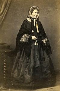 France Elegant Woman Second Empire Fashion Old CDV Photo 1860