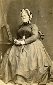 France Elegant Woman Second Empire Fashion Bonnet Old CDV Photo 1860