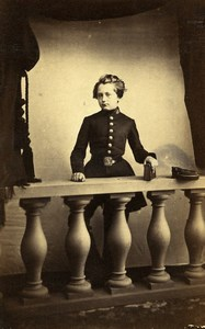 France Elegant Boy in Uniform Costume Second Empire Fashion Old CDV Photo 1860