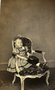 France Toddler Boy in Elegant Dress Second Empire Fashion Old CDV Photo 1860