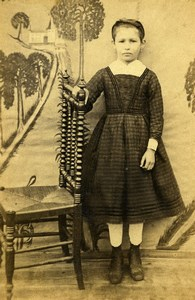 France Young Girl in Dress Second Empire Fashion Chair Old CDV Photo 1860