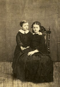 France Elegant Young Girl & Boy Dress Second Empire Fashion Old CDV Photo 1860