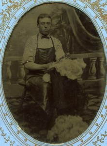 France Ferrotype Quesnoy sur Deule Portrait de Narcisse Leclercq Matelassier Ancienne Photo 1890