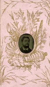 France Ferrotype Miniature Gem Tintype Homme Portrait Ancienne Photo 1890