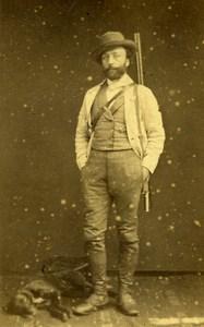 France Saint Etienne Hunter Hunting Shotgun Dog Old CDV Photo Cheri 1860