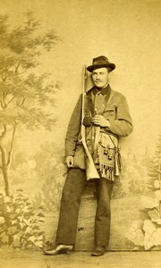 France Hunter Hunting Costume Shotgun Old CDV Photo 1860