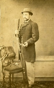 France Roubaix Hunter Costume Shotgun Hunting CDV Photo Wilhem & Cailleteau 1860