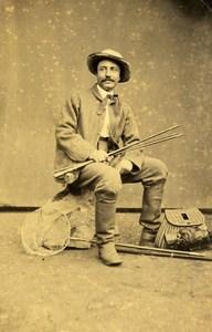 France Saint Etienne Fisherman Costume fishing rod Old CDV Photo Cheri 1860