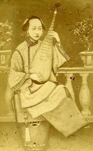 China Lute player Modern Pipa Musical Instrument Old CDV Photo 1870