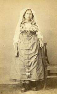 Italy ? Woman Traditional Costume Fashion Old CDV Photo 1860
