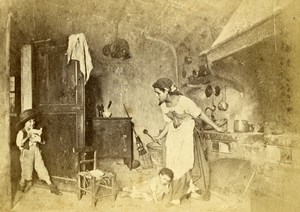Italy Milano Mother & Children in the Kitchen Old CDV Photo Pagliano 1860