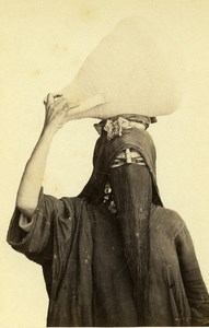 Algeria Alger? Woman Water Carrier Costume Fashion Niqab Old CDV Photo 1870