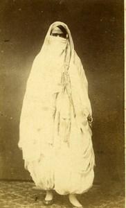 Algeria Alger? Woman Costume Fashion Niqab Old CDV Photo 1870