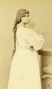 Algeria Alger? Young Woman Costume Fashion Old CDV Photo 1870