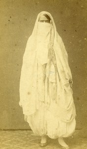 Algeria Alger? Woman Costume Fashion Niqab Old CDV Photo 1870