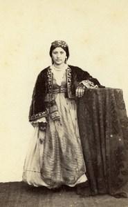 Algeria Alger? Young Woman Costume Fashion Old CDV Photo 1870