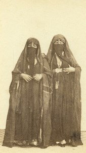 Egypt Cairo? Women Costume Fashion Niqab Old CDV Photo 1870