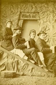 Germany Berchtesgaden Salt Mine Tourist Group Old CDV Photo Ney 1890