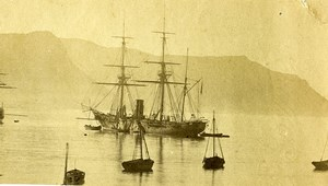 South Africa Boat Primauguet anchored at Cape of Good Hope Old Photo 1865