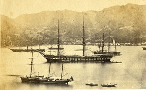 Japan French Frigate la Guerriere anchored at Nagasaki Old Photo 1867