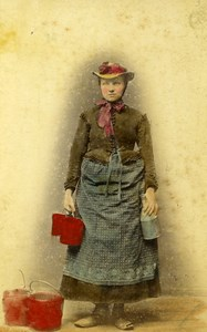 Germany Hamburg Milk Woman Milchmadchen Old CDV Photo Hattorff 1890