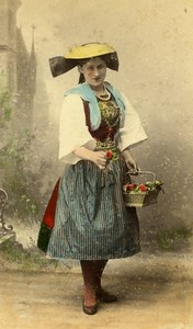 Germany Hamburg Woman Flower Seller Vierlanderin Old CDV Photo Hattorff 1890