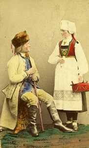 Sweden Couple Traditional Costume Fashion Old Colorised CDV Photo Eurenius 1868