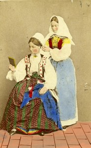 Sweden Women Hairdresser Costume Fashion Old Colorised CDV Photo Eurenius 1868