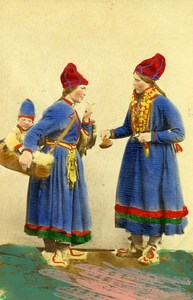 Sweden Women & Child Traditional Costume Old Colorised CDV Photo Eurenius 1868