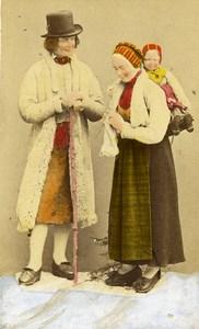 Sweden Dalarna Leksand Traditional Costume Old Colorised CDV Photo Eurenius 1868