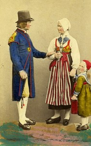 Sweden Dalarna Leksand Traditional Costume Old Colorised CDV Photo Eurenius 1868