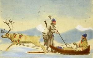Sweden Reindeer Sled Traditional Costume Old Colorised CDV Photo Eurenius 1868