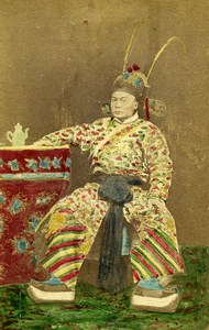 China Shanghai Man Costume Fashion Old Hand Colored CDV Photo Kung Tai 1860