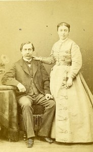 France Paris Couple Wife & Husband Costume Fashion Old CDV Photo Nadar 1870