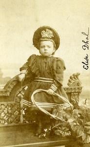 France Tourcoing Jeu d'Enfants Cerceau Elise Dhal Ancienne CDV Photo Dubus 1890