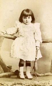 Belgique Bruxelles Jeu d'Enfants Corde à Sauter Ancienne CDV Photo Louvois 1890