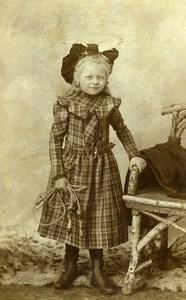 Belgique Tournai Jeu d'Enfants Corde à Sauter Ancienne CDV Photo Messiaen 1890